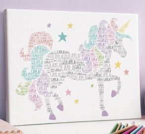 White Unicorn Personalized Name Wrapped Canvas