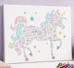 White Unicorn Personalized Name Wrapped Canvas
