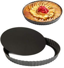 2 Pack 9.5-Inch Tart Pan with Removable Loose Bottom