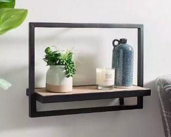 Wood and Metal Long Wall Shelf