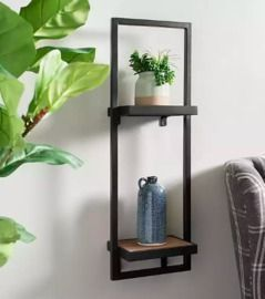 Wood and Metal Stacked Shelf