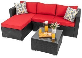 Swannanoa 3 Piece Rattan Sectional w/ Cushions by Ebern Designs