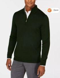 Club Room Men's Quarter Zip Merino Wool Blend Sweater