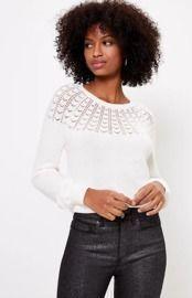 Pointelle Yoke Sweater