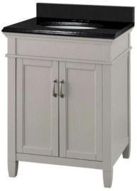 Ashburn 25 W x 22 D Bath Vanity in Grey with Granite Vanity Top