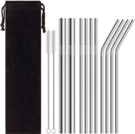 Reusable Stainless Steel Metal Straws - 13pk