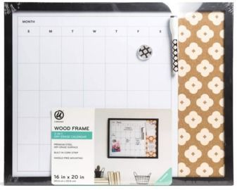 U Brands 16x20 2-in-1 Combo Dry Erase Calendar/Cork Board Wood Frame