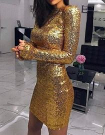 Glam Sequin Long Sleeve Dress