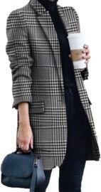 Winter Lapel Printed Striped Coat
