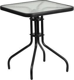 Flash Furniture 23.5 Tempered Glass Metal Table