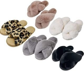 Women's Cross Band Soft Plush Slippers