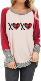 XOXO Plaid Heart Print Tops