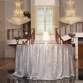 48 inch Round Silver Sequined Tablecloth