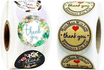 1000pcs Thank You Stickers