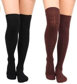 Cable Knit Over Knee High Socks