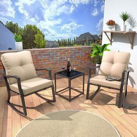 3 Piece Outdoor Rocking Chairs