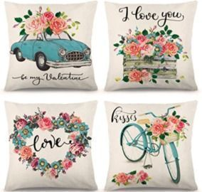 18x18 Valentine Pillow Covers - 4pk