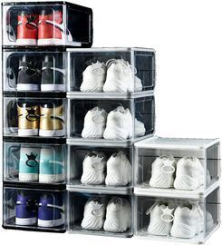 4 Pack of Large Clear Stackable Shoe Containers