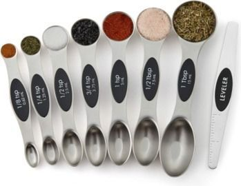 Set of 8 Stainless Steel Magnetic Measuring Spoons, Dual Sided