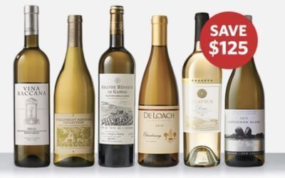 Top 6 White Wines Only $39.99 + Bonus Bottles And Glasses