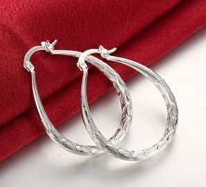 Sterling Silver Fashion Classic Fish Scales Hoop Earring