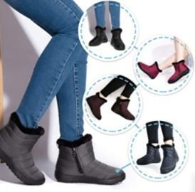 Camfosy Womens Ankle Snow Boots w/ Warm Fur Lining