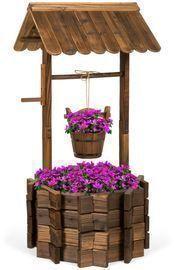 Wishing Well Planter Yard Decoration w/ Hanging Bucket