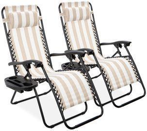 2 Adjustable Zero Gravity Patio Chair Recliners (14 Colors)