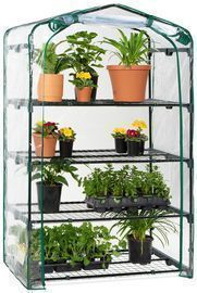 40 Mini Portable 4-Tier Greenhouse w/ Steel Shelves