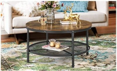 YAHEETECH 2-Tier 35.5 Rustic Round Coffee Table