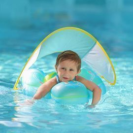 Inflatable Baby Swimming Float w/ Bottom Support & Retractable Fabric Canopy