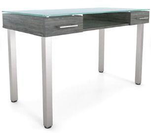 Union & Scale Prestige 47 Glass Writing Desk, Gray