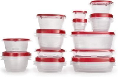 Rubbermaid TakeAlongs Food Storage Containers, 52 Pieces, Ruby Red