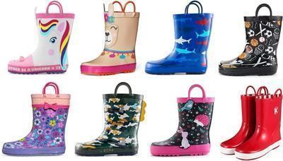 Kids Girl & Boy Rubber Rain Boots, Printed with Handles