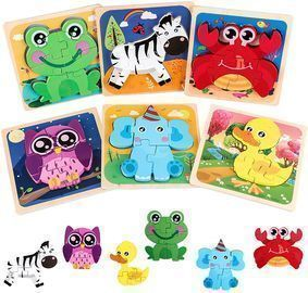 6 Pack of WoSaang Wooden Puzzles