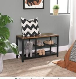 Shoe Rack with Seat & Mesh Shelves