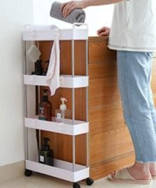 Storage Cart Slim 4-Tier Rolling Shelving Unit