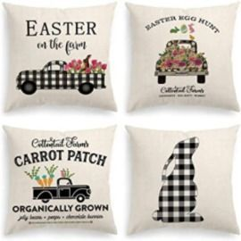 Pack of 4 Buffalo Plaid Easter Throw Pillow Covers, 18 X 18 Inches