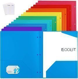 16pcs Heavy Duty Plastic Pocket File Folders