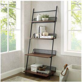 Walker Edison Industrial Bookcase w/ 4-Shelves (Dark Walnut)