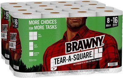 Brawny Tear-A-Square Paper Towels, Quarter Size Sheets (16 Count)