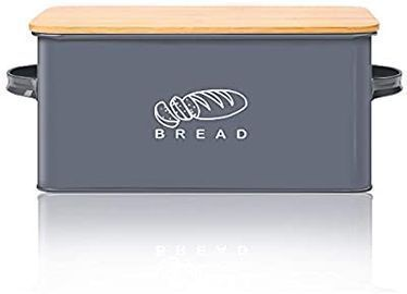 Homefavor Bread Box w/ Bamboo Lid For Kitchens