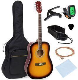 41in Acoustic Guitar Starter Kit W/ Digital Tuner, Padded Case, Picks, Strap