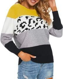 Long Sleeve Leopard Print Knitted Sweaters