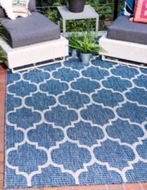 Outdoor Trellis Collection - Casual Moroccan Lattice Transitional Indoor and Outdoor Rug (6x9)