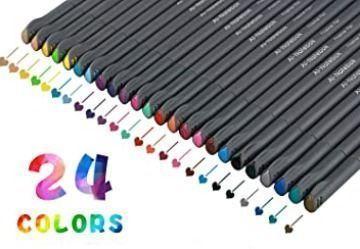 Fineliner Color Pens Set, 24 Assorted Colors