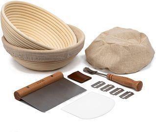 Kook Sourdough Bread Proofing Set: 2 Rattan Banneton Baskets w/ Covers & More