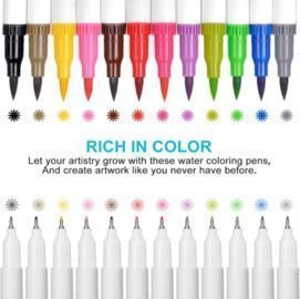 12 Dual Tip coloring markers and pens set