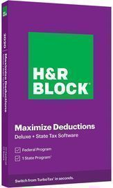 H&R Block Tax Software: Deluxe + State 2020 (PC Windows/Mac Key Card)
