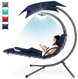 Hanging LED-Lit Curved Chaise Lounge Chair